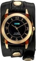 La Mer Women's LMACETATE007 Analog Display Japanese Quartz Black Watch