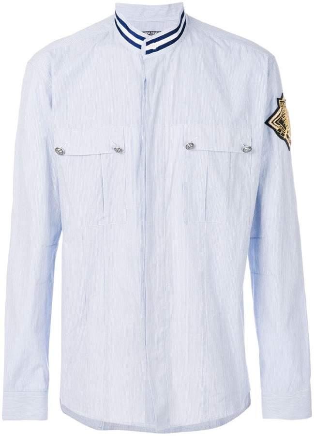 Balmain patch shield shirt