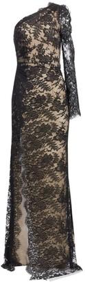 Monique Lhuillier One-Shoulder Long-Sleeve Lace Side Slit Gown