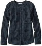 L.L. Bean Signature Collarless Shirt, Long-Sleeve Print