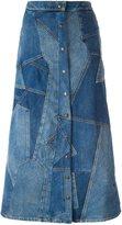 Saint Laurent patchwork denim skirt - women - Cotton - 27