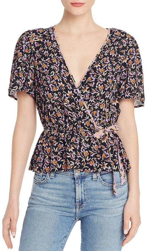 Band of Gypsies Nashville Floral Faux-Wrap Blouse