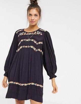 Free People Pasadena embroidered dress-Purple