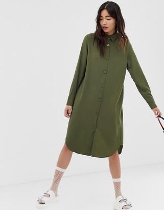 Monki midi shirt dress in khaki-Green