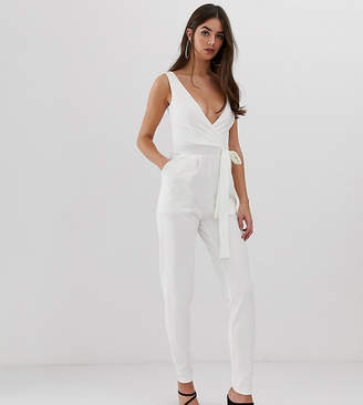 Outrageous Fortune Tall tie waist jumpsuit in white