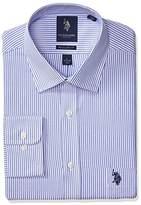 U.S. Polo Assn. Men's Reguar Fit Striped Semi Spread Collar Dress Shirt