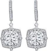 Lafonn Platinum Plated Sterling Silver Simulated Diamond Cushion Halo Dangle Earrings