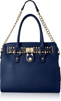MG Collection Haley Studded Structured Satchel Shoulder Bag