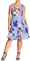 City Chic Plus Size Women's Soft Blues Fit & Flare Dress