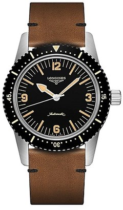 Longines The Skin Diver Leather-Strap Watch