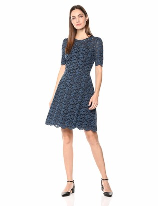 Lark & Ro Women's Half Sleeve Lace Crewneck Fit and Flare Dress