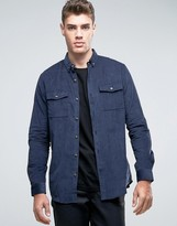 Pull&bear Overshirt In Navy Cord In Regular Fit
