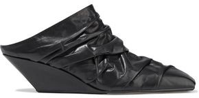 Rick Owens Walrus Slivers Ruched Leather Wedge Mules