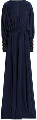 Amanda Wakeley Cold-shoulder Embellished Cady Gown
