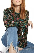 Topshop Women's Ruffle Neck Floral Top