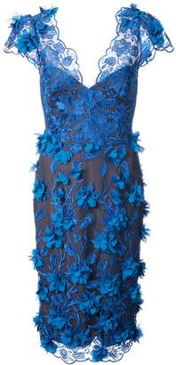 Marchesa embellished V-neck dress