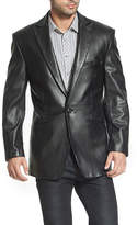 BGSD Men's Judd One-Button Lambskin Leather Blazer - Big and Tall