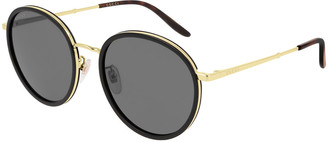 Gucci Round Acetate & Metal Sunglasses
