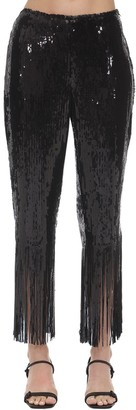 L'Autre Chose High Waist Sequins Pants W/ Fringes
