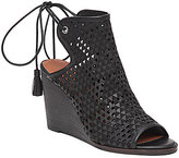 Lucky Brand Riskee Cut-Out Leather Peep-Toe Ankle-Tie Wedge Sandals