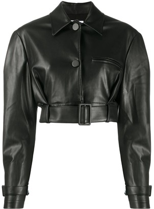 BROGNANO Cropped Faux Leather Shirt Jacket