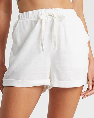 Calli - Women's White High-Waisted - Linen Blend Shorts - Size 6 at The Iconic