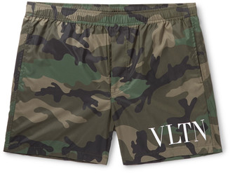 Valentino Mid-Length Logo-Print Swim Shorts