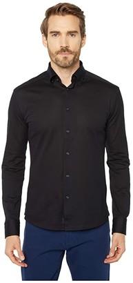 Eton Casual Fit Pique Knit Long Sleeve (Black) Men's Clothing