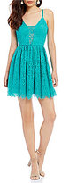 As U Wish Spaghetti-Strap Lace Fit-And-Flare Dress