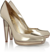 Yves Saint Laurent Mirrored-heel metallic leather pumps