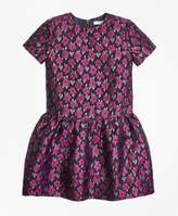 Brooks Brothers Short-Sleeve Floral Jacquard Dress
