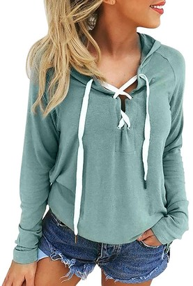 DEELIN Women Ladies V Neck Sexy Bandage Belted Sexy Long Sleeve Hoodie Sweatshirt Lace Up Crop Top Coat Sports Hooded Pullover Tops(Green 4XL)
