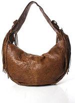 Junior Drake Brown Leather Silver Studded Fringed Detail Shoulder Handbag