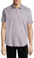 John Varvatos Floral-Print Short-Sleeve Sport Shirt, Blue Pattern
