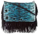 Jimmy Choo Snakeskin-Trimmed Fringe Crossbody Bag