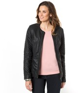 Anne Weyburn Quilted Faux Leather Jacket