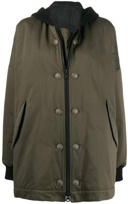 Yohji Yamamoto contrast hood coat