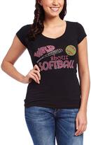 Black 'Wild About Softball' Embellished V-Neck Tee