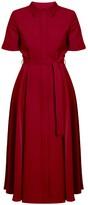Undress Elada Deep Red Waisted Midi Shirt Dress