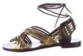 Balmain Metallic Lace-Up Sandals