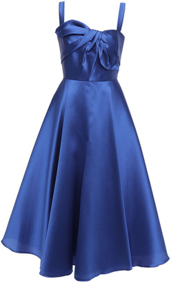 Marchesa Knotted Satin-pique Midi Dress