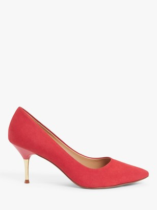 John Lewis & Partners Athena Suede Metal Stiletto High Heel Court Shoes, Red