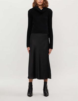 AllSaints Tierny rurtleneck wool-blend and satin midi dress