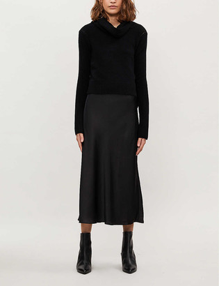 AllSaints Tierny turtleneck wool-blend and satin midi dress
