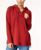 Style&Co. Style & Co Long-Sleeve Lace-Up Hoodie, Created for Macy's