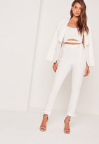 Missguided D Ring Hem And Waist Cigarette Trousers White