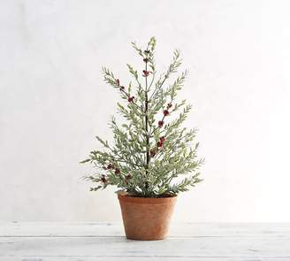Pottery Barn Faux Potted Berry Branch Sage Topiary