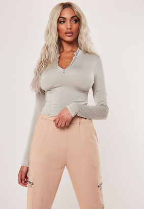 Missguided Petite Sand Slinky Corset Detail Crop Top