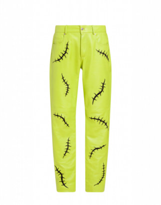 Moschino Scars Nappa Trousers Man Green Size 50 It - (40 Us)