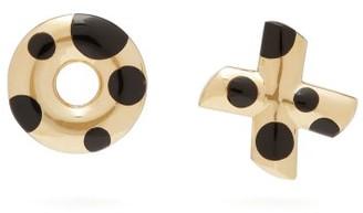 Retrouvaí Polka Dot Xo Onyx & 14kt Gold Earrings - Gold